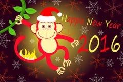 Nowy rok pożarnicza małpa 2016 Obraz Royalty Free