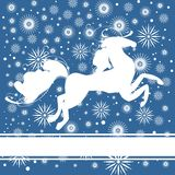 Nowy Rok pocztówka z koniem Fotografia Royalty Free