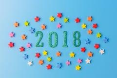 2018 nowy rok pojęcie grupa kolorowe gwiazdy wokoło 2 (0) 1 8 nu Obraz Stock