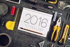 2016, nowy rok postanowień rzemieślnika warsztata pojęcie Obraz Stock