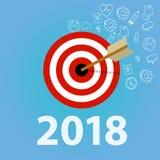 2018 nowy rok postanowienie, biznesowa cel strzałka i strzała i Fotografia Stock