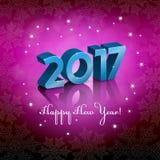 Nowy 2017 rok powitanie na różowym tle Zdjęcia Stock