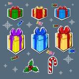 Nowy Rok prezenty ustawiający Obrazy Royalty Free