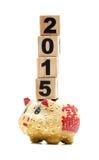 Nowy Rok 2015:  prosiątko elementy i bank Zdjęcia Stock