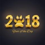 Nowy Rok psia wakacyjna pocztówka z łapa odciskiem stopy, złocisty te ilustracji