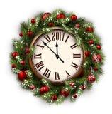2017 nowy rok round zegar Obraz Royalty Free