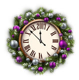 2017 nowy rok round zegar ilustracji
