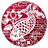 Nowy rok ryba w grunge stylu dla świętować CNY Zdjęcie Royalty Free