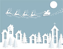 Nowy Rok s, kartka bożonarodzeniowa Abstrakcjonistyczna sylwetka rogacz i saneczki Święty Mikołaj nad domami Cięcie od papieru Zdjęcia Stock
