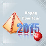 Nowy Rok scena z ornamentacyjną piłką i stylizującym ornamentacyjnym ostrosłupem Obraz Royalty Free