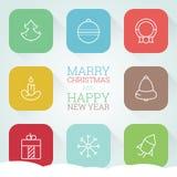 Nowy Rok sieci ikony wakacyjny set Obraz Stock