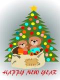 Nowy Rok sosny miś bawi się i prezenty, Bożenarodzeniowa noc, boże narodzenia, kartka z pozdrowieniami, powitanie, pocztówka, zim ilustracji