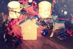 Nowy rok sosny rożka stołowa świeczka Zdjęcie Royalty Free