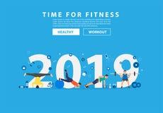 2019 nowy rok sprawności fizycznej pojęcia trening z wyposażeniem royalty ilustracja