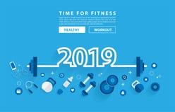 2019 nowy rok sprawności fizycznej pojęcia treningu typografii abecadła projekt ilustracji