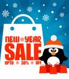 Nowy Rok sprzedaży tło z pingwinem daleko do 30% Zdjęcia Royalty Free