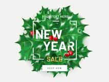 Nowy rok sprzedaży ulotki szablon z realistycznymi bożymi narodzeniami uświęconymi i jagodowymi pojedynczy białe tło Plakat, kart Fotografia Royalty Free