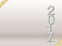 2017 nowy rok srebra błyskotliwości numerowy i złocisty faborek w studia ro Zdjęcia Stock