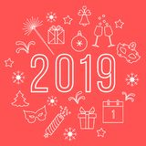 Nowy Rok symbole Prezenty, petardy, fajerwerki, koralik, szkła z szampanem, dzwon, choinka, maska, kalendarz, gwiazdy, royalty ilustracja