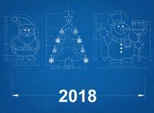 Nowy Rok symbole - projekt 2018 zdjęcie stock