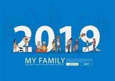 2019 nowy rok szczęśliwa rodzina ma zabawy życia stylu pomysłu concep royalty ilustracja