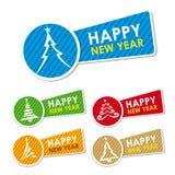 Nowy rok szczęśliwe etykietki Zdjęcie Royalty Free