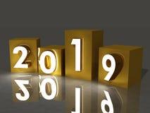 Nowy rok, 2019, sześciany, 3d royalty ilustracja
