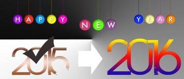 2016, nowy rok, sztandar Obrazy Royalty Free
