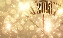 2018 nowy rok sztandar z zegarem Zdjęcia Royalty Free