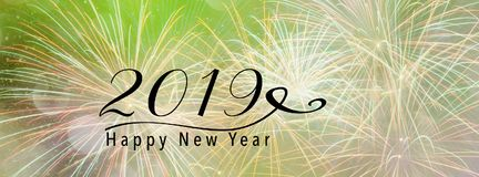 2019 nowy rok sztandaru chodnikowiec dla Ogólnospołecznych środków Fotografia Stock