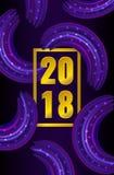 2018 nowy rok tło z purpurowym brushstroke z błyskotliwością Fotografia Royalty Free