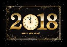 2018 nowy rok tło z zegarowymi i złocistymi confetti Wektor ja Zdjęcie Royalty Free