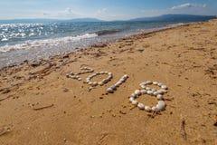 2018 nowy rok tekst na piasku Zdjęcie Stock