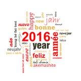 2016 nowy rok teksta słowa różnojęzyczna chmura Fotografia Stock