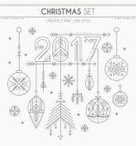 Nowy Rok ustawia - wieszający dekoracje, 2017 znaka i płatki śniegu, ilustracja wektor
