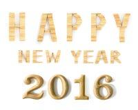 2016 nowy rok w kształcie od drewnianego Fotografia Stock