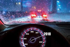 Nowy Rok 2018 w samochodzie Fotografia Royalty Free