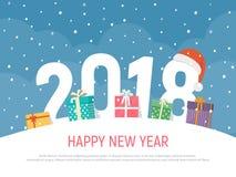 Nowy rok 2018 Wakacyjny zimy tło z prezentów pudełkami Bożenarodzeniowa Wektorowa ilustracja w mieszkanie stylu ilustracja wektor