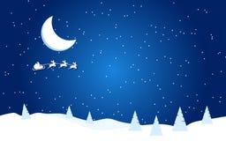 Nowy Rok wektorowa płaska ilustracja z księżyc, Santa i choinką, royalty ilustracja
