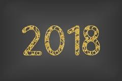 Nowy Rok, wektorowego projekta niewygładzony 2018 tekst na białym tle royalty ilustracja