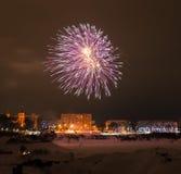 Nowy rok wigilii 2015 fajerwerków Fotografia Royalty Free