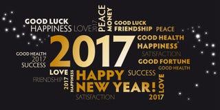 Nowy Rok wigilii 2017 - szczęśliwy nowego roku 2017 czerń ilustracja wektor