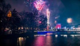 Nowy rok wigilii w Norrkoping Szwecja zdjęcia royalty free