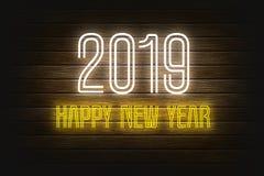 Nowy rok wita 2019 brite neonowych świateł projekt drewniany bg ilustracji
