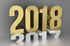 Nowy rok złoci 2018 3d odpłaca się Zdjęcie Stock