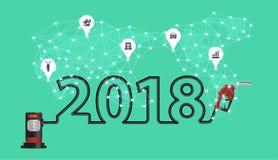 2018 nowy rok z benzyny pompy nozzle kreatywnie projektem Zdjęcie Royalty Free