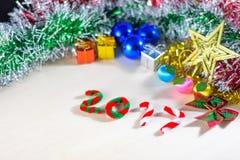 Nowy rok 2017 z boże narodzenie dekoracjami Zdjęcie Stock