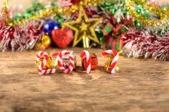 Nowy rok 2017 z boże narodzenie dekoracjami Fotografia Royalty Free