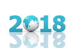 Nowy Rok 2018 z kulą ziemską Fotografia Royalty Free