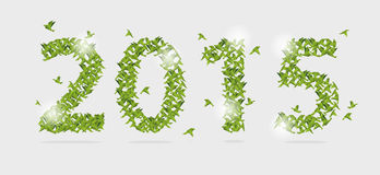 2015 nowy rok z origami papieru ptakiem na abstrakcie wektor Zdjęcie Royalty Free
